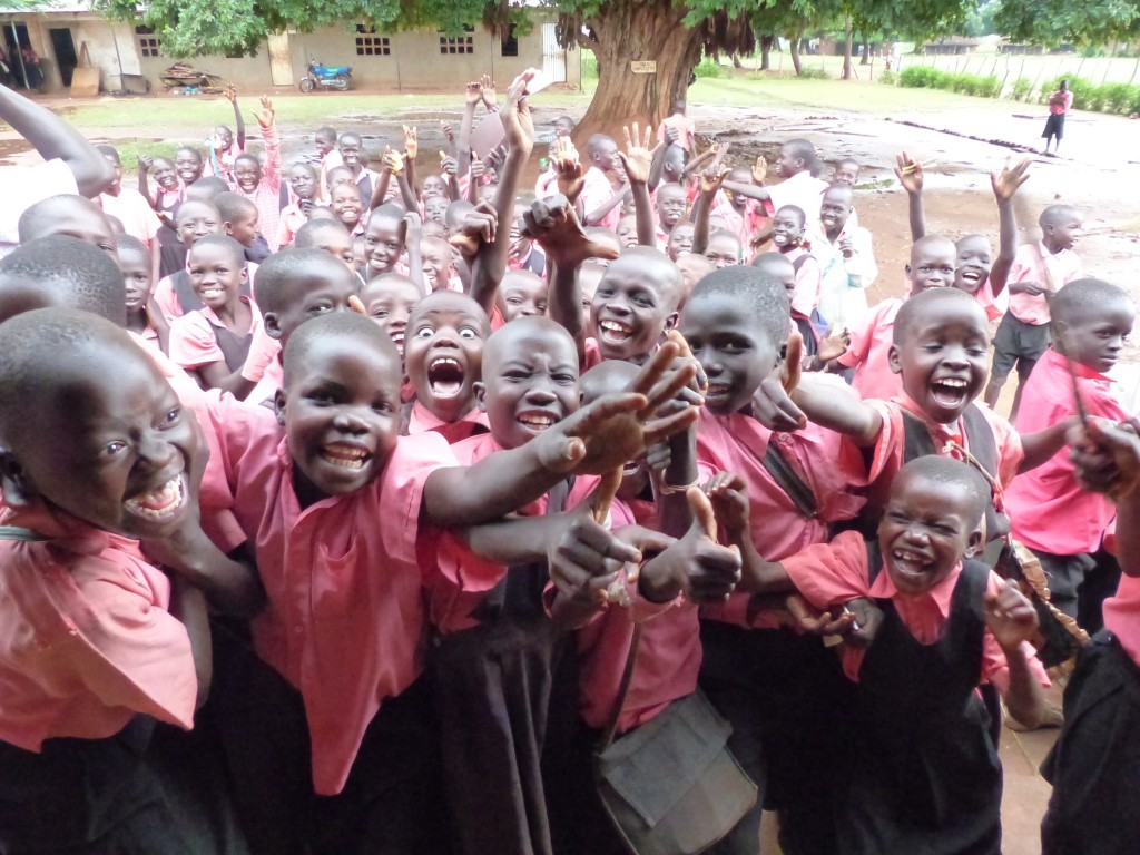 Padibe Boys School children are excited to see the visitor!