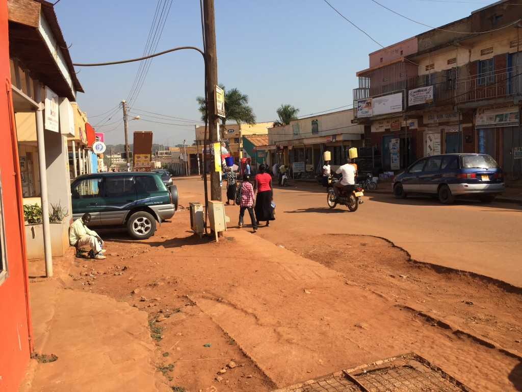 A shot of a typical street outside the Coffee Hut in Gulu.